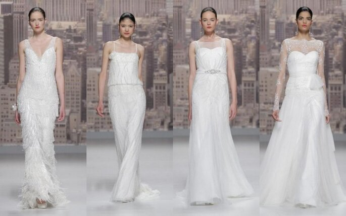 Vestidos de novia con brillos y transparencias de Rosa Clará 2015. Fotos: Rosa Clará