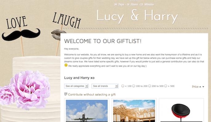 Online wedding gift list