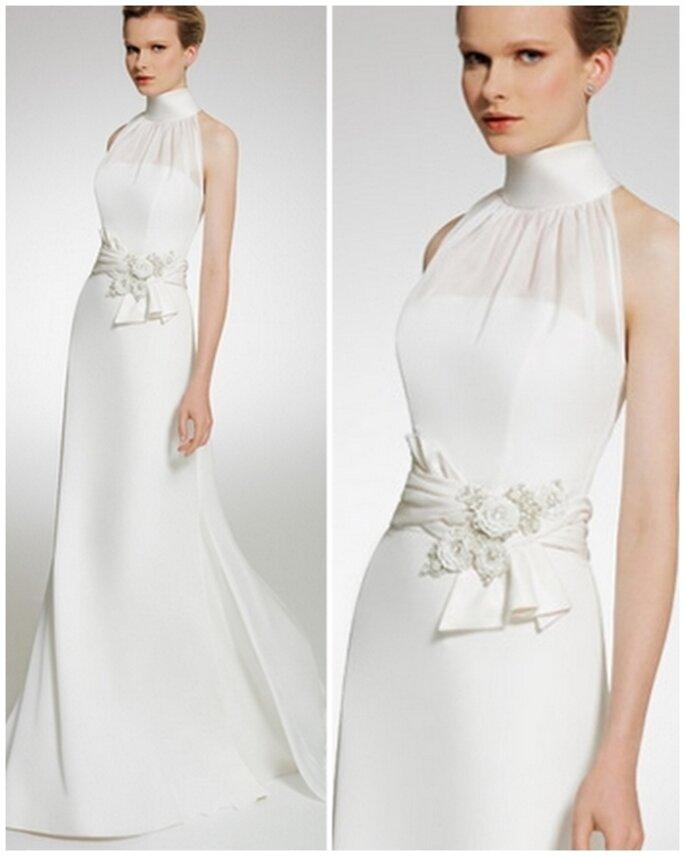 Vestido de novia escote en cisne. Patricia Avedaño