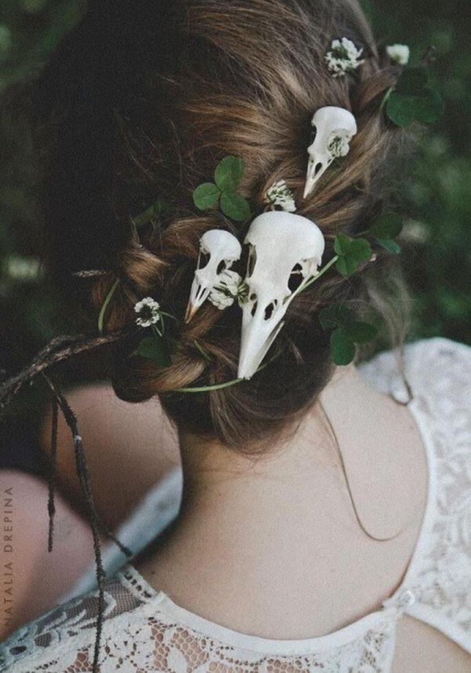 Halloween Hochzeit Brautstyling Totenkopf