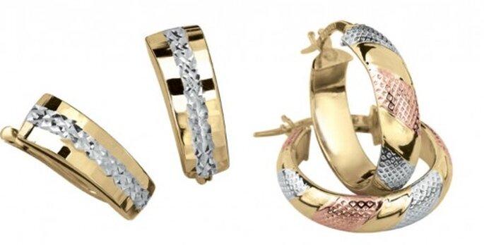 Joyas, los accesorios que te harán brillar en una boda. Foto. Aretes en oro, Cristal Joyas.