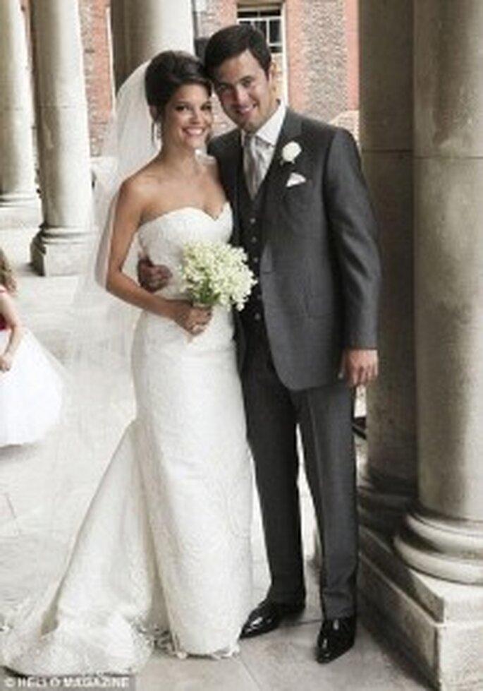 Carly Zucker with husband Joe cole in her Oscar de la Renta dress