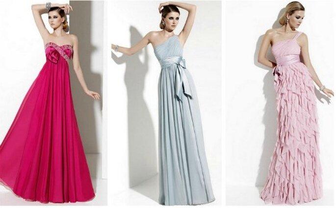 La robe longue de couleur a toujours beaucoup de chic. Robes de cocktail et de soirée San Patrick 2012