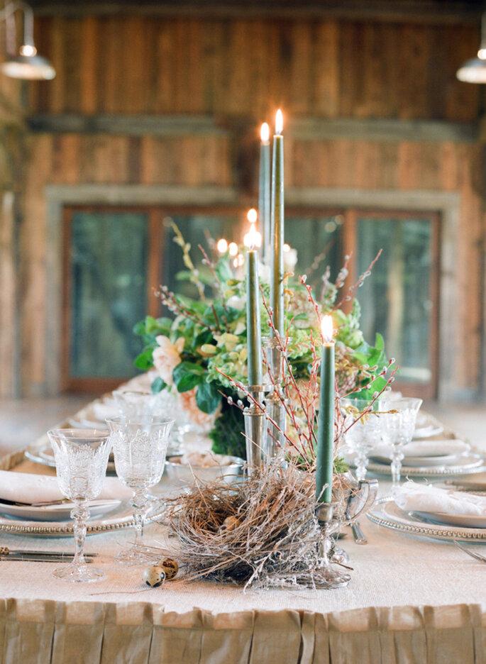 Winterhochzeit Inspiration Tischdeko
