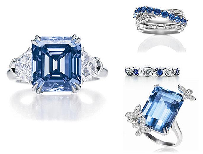 Sortijas con diamantes azules y zafiros, de Harry winston. Alianza de Tiffany.
