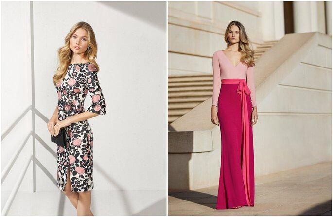 Vestido para convidada de casamento: midi branco com flores pretas e rosa e longo rosa com pink e laço na cintura