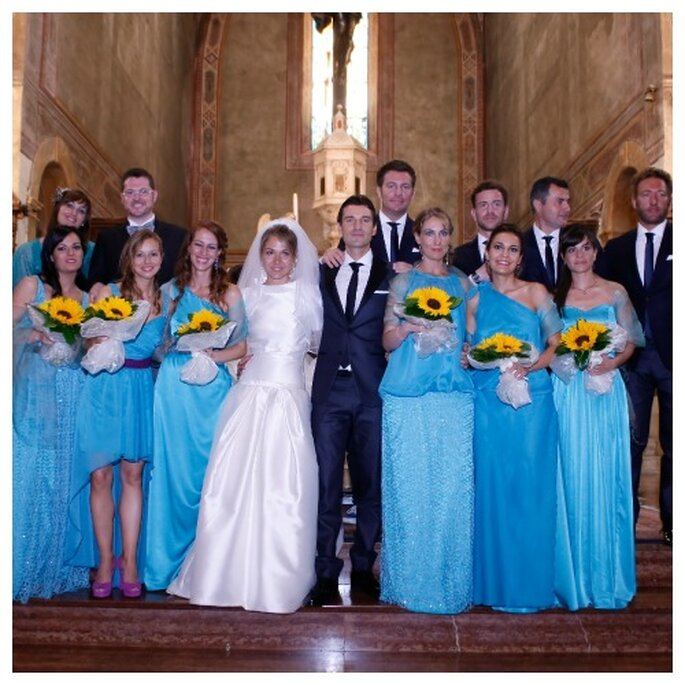 Las amigas del colegio de Mertixell fueron sus damas de honor en la boda