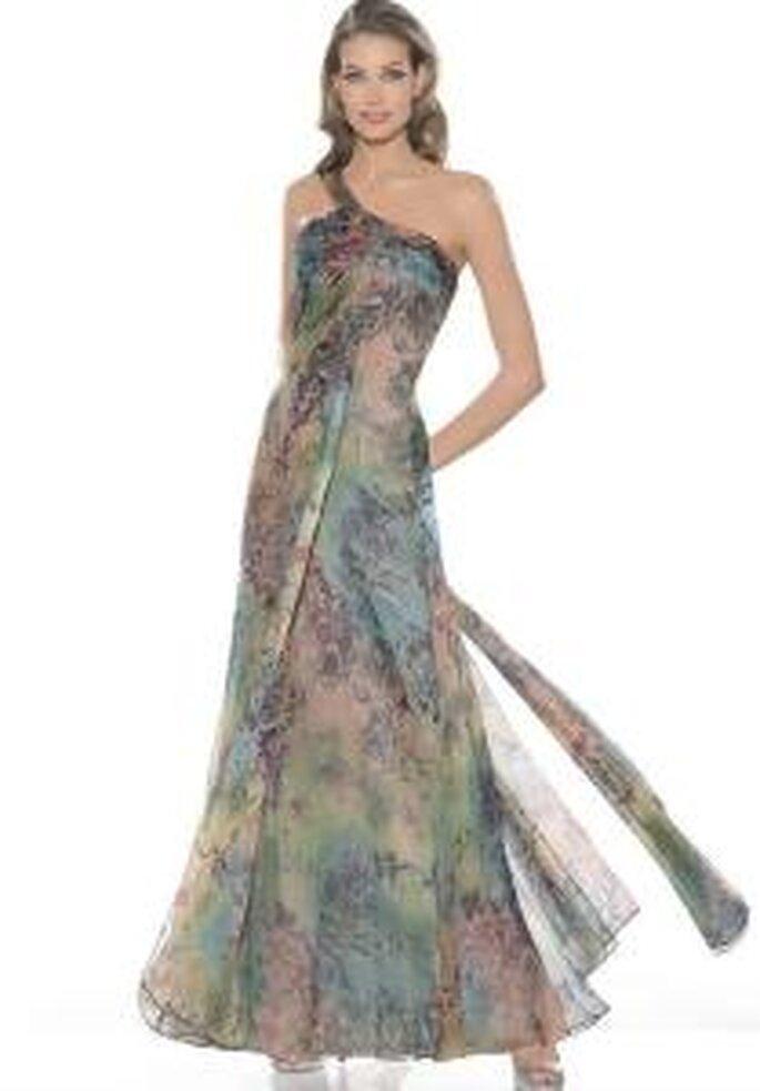 La Sposa 2009 - Vestido largo verdoso de gaza, con escote transversal