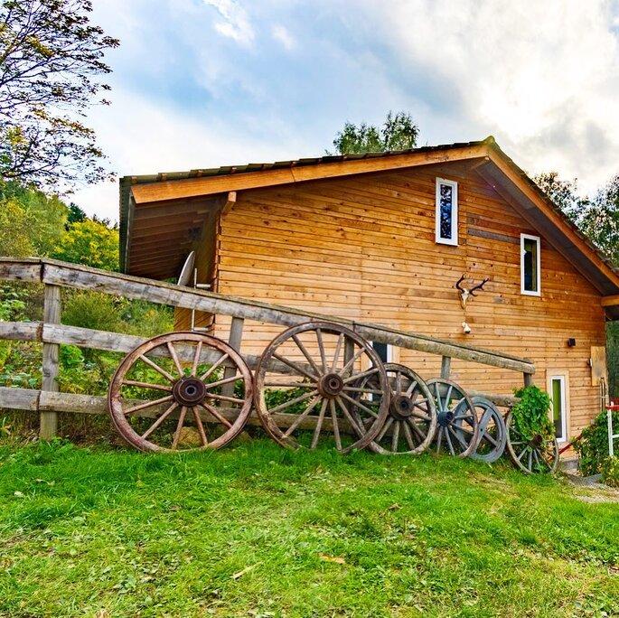 Vue de l'arrière du Chauffour, chalet rustique à l'esprit montagnard situé dans un espace verdoyant dans les Vosges alsaciennes