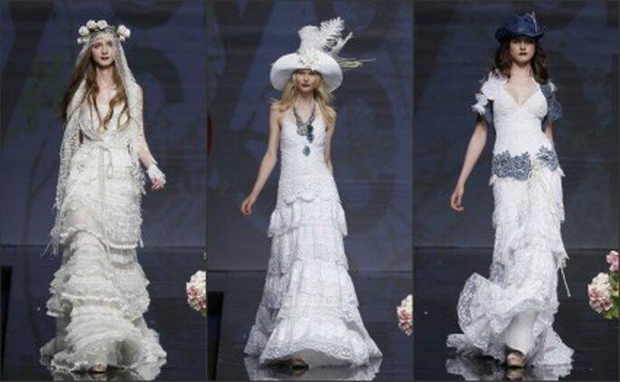 El patchwork también es utilizado en los vestidos de novia Yolan Cris 2012 - Ugo Camera / Barcelona Bridal Week