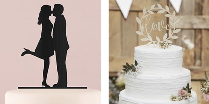 Cake Topper silhouette baiser noir et Cake Topper guirlande en bois love