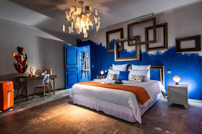 Terre de Rêve - Chambre Imaginarium - Décoration contemporaine, bleu Klein, un univers Arty