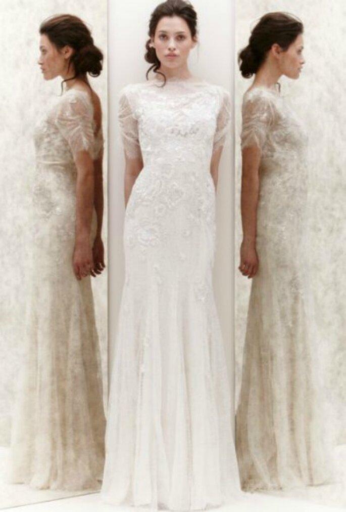 Abito in leggero tulle ricamato con pizzo rebrodè. Jenny Packham Spring 2013. Foto New York Bridal Week