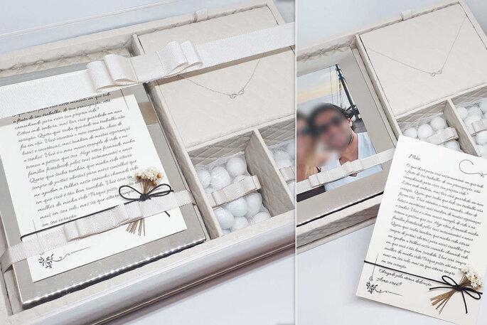 Caixa especial com lembrancinha para a mãe da noiva
