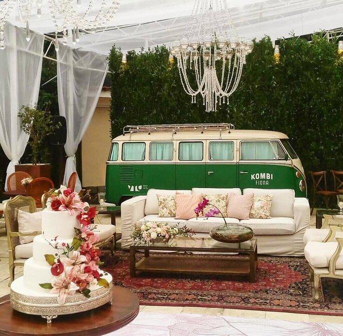 Kombi verde e branca em mini wedding