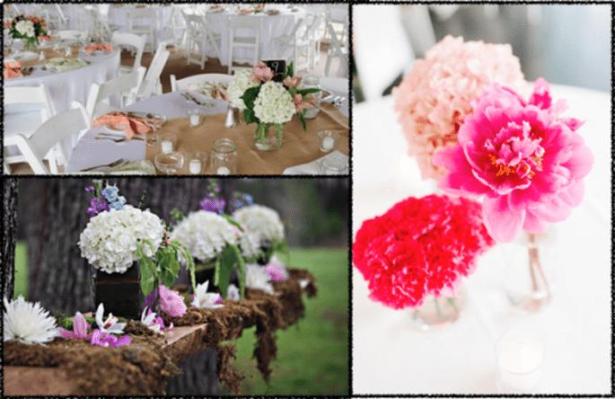 Arreglos y decoración de boda con hortensias - Foto KatIe Stoops, Cuppa photography y Alexandra Whitney