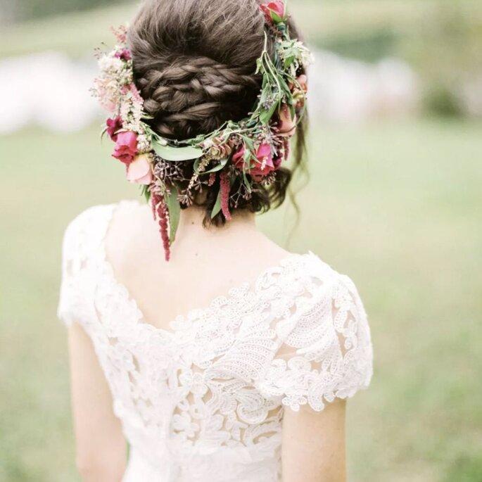 Couronnes de fleurs pour coiffure de mariée bohème