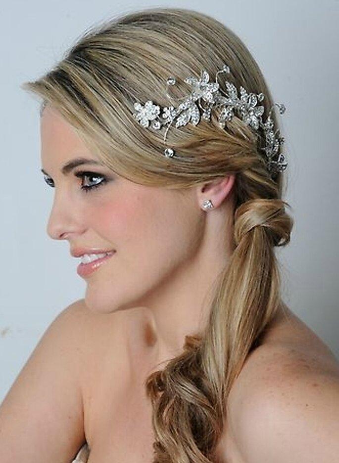 Tocado y peinado para cada estilo de novia vintage - Peinados de novia recogido ...