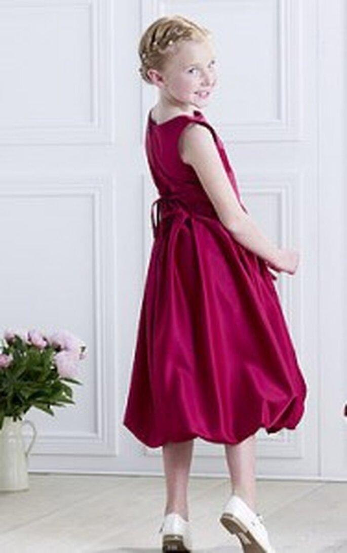 Kinderkeid von Lilly - Knielanges Kleid, Ballonrock, mit Bändchen hinten, bordeau-