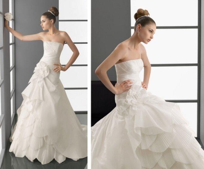 Vestido de novia 2012. Strapless de tafetán en color natural. Avance Aire Barcelona