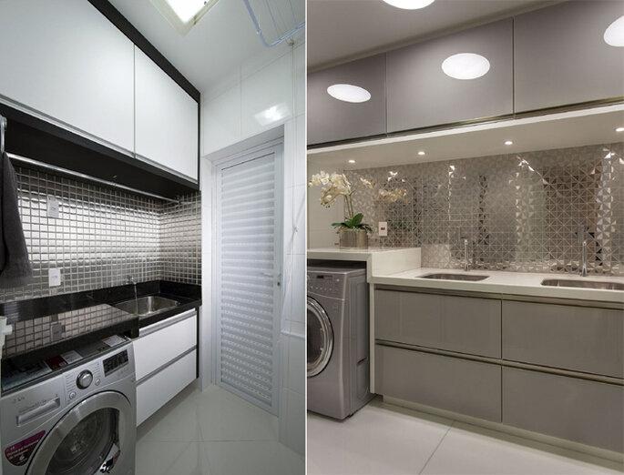 Lavanderia integrada com armários claros e iluminação clara