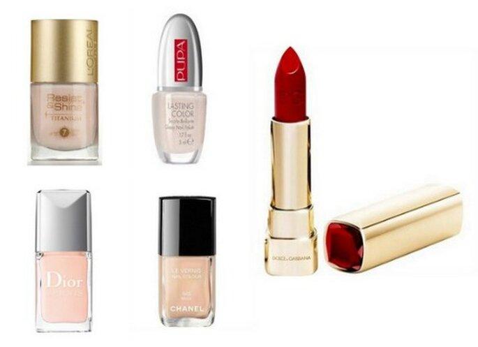 Smalti, dall'alto: Resist&Shine de L'Oreal Paris, Lasting Color di Pupa, Dior Vernis e Chanel Le Vernis. Lipstick Rosso Fuoco di Dolce & Gabbana