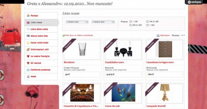 Lista nozze online Zankyou