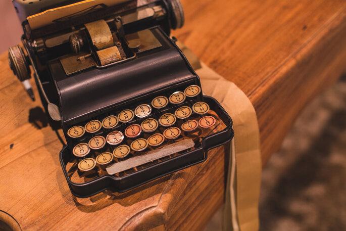 Máquina de escrever na decoração