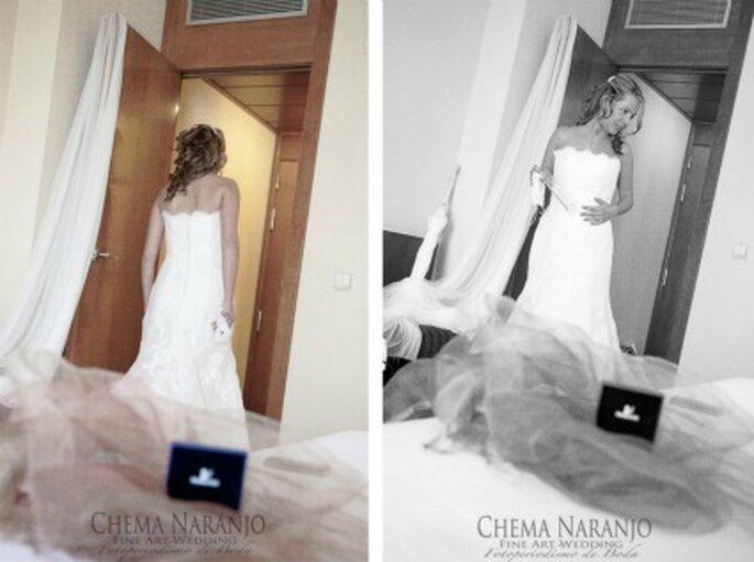 María antes de la boda, con su vestido - Fotografía: Chema Naranjo