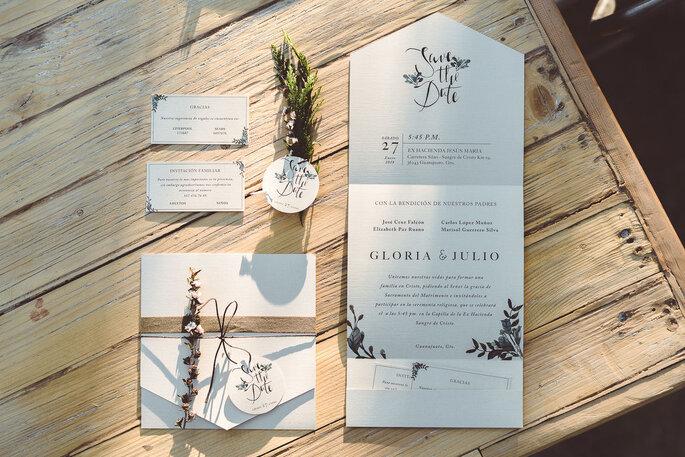 Detalles para invitaciones de boda vintage