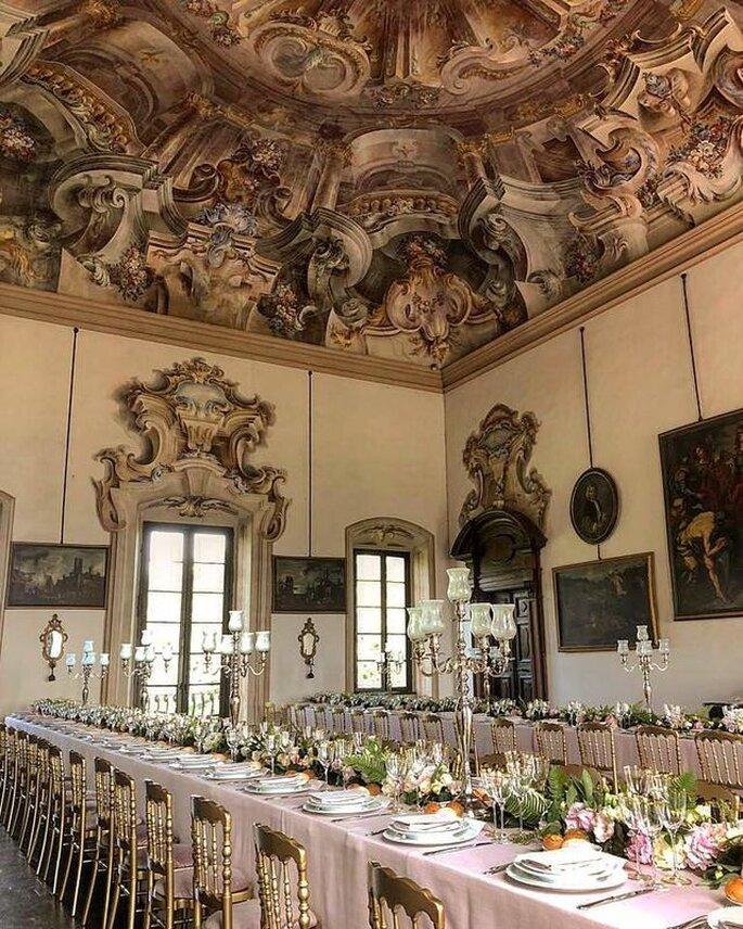 Salle de réception de mariage à la décoration typiquement italienne