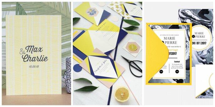 Photo à gauche : La Mésange aux Messages / Photo au centre : Les faire-parts de Laurence / Photo à droite : Atelier Eksento