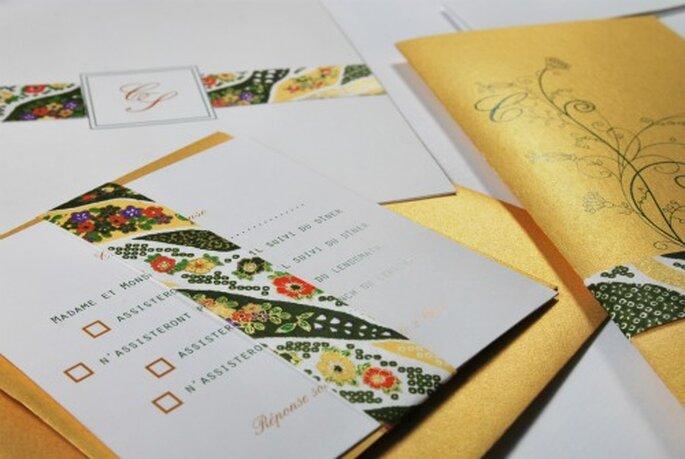 Faire-part de mariage aux couleurs du printemps pour l'Art du Papier - Crédit photo : Jeanne C