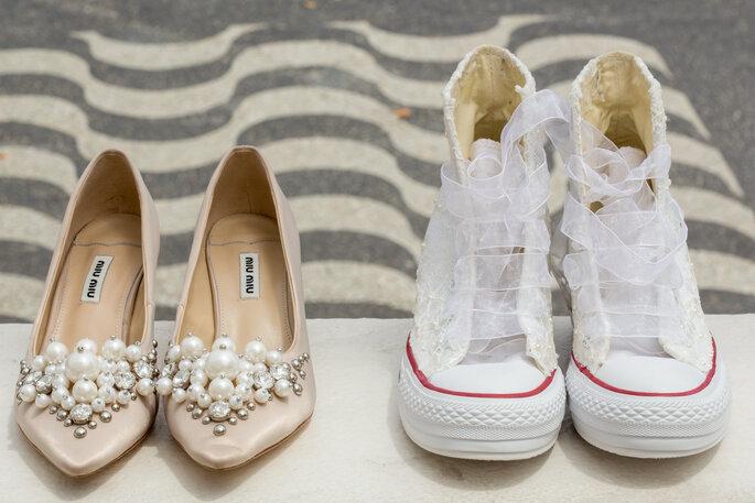 Sapatos da noiva: Miu Miu e Converse | Foto: Giovani Garcia