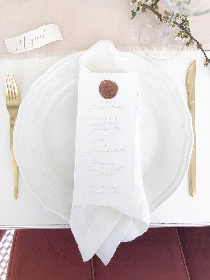 menu de casamento estilo livro
