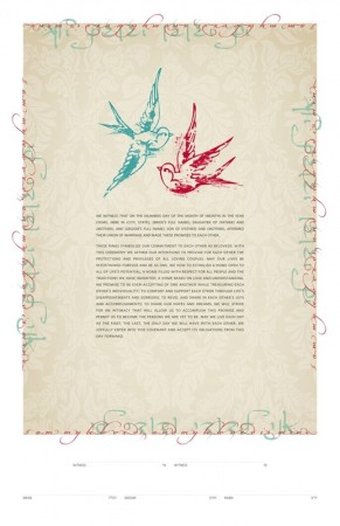 Modern Ketubah - Tattoo Love Birds from Etsy seller jenniferraichman