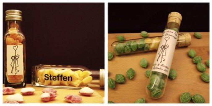 Hochzeitsbonbons sowohl als Tischkärtchen, als auch zur Danksagung geeignet - Foto: DeinBonbon