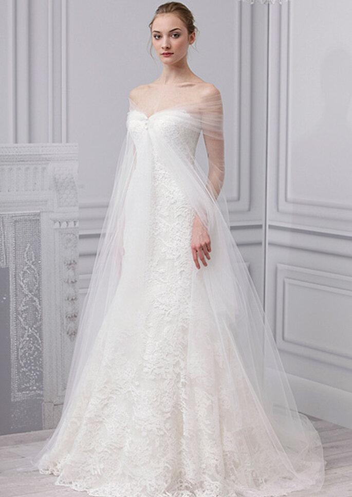 Robe de mariée coupe empire et tulle. Photo : Monique Lhuillier, collection 2013