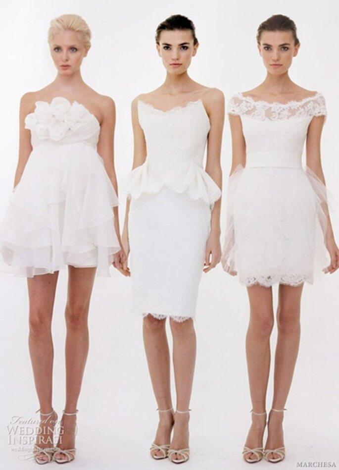 Kurze Brautkleider von Marchesa 2012 - Foto:www:weddinginspirasi.com
