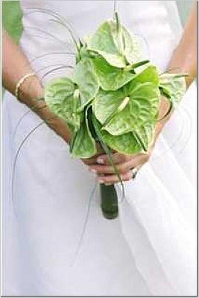 Sencillo y lindo ramo de novia verde