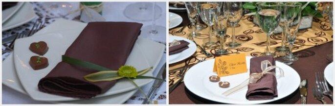 Los chocolates individuales para decorar las mesas dan un toque muy personal. Fotos: Organización de Bodas Eugenia Ramos