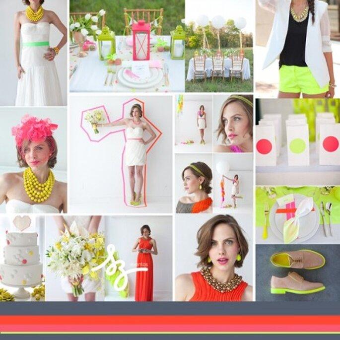Collage de inspiración para una boda vibrante en color neón - Foto trendland.com, bklynbrideonline.com, alowcountrywed.com, studentratetrends.com, blog.hwtm.com, brides.com, polkadotbride.com.  Diseño de Raisa Torres para SZ Eventos szeventos.com
