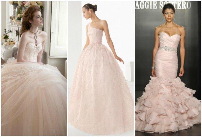 Le rose, l'une des couleurs préférées des mariées. Gauche : Atelier Aimèe Montenapoleone 2013, Rosa Clarà 2013, Maggie Sottero Bridal 2013
