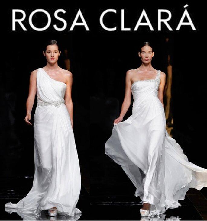 Braukleider für 2012 von Rosa Clará, hier Modelle mit asymmetrischen Trägern....besonders modern!