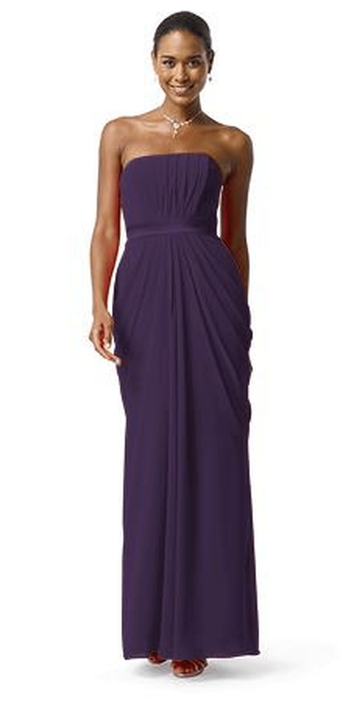 David's Bridal Strapless Chiffon A-Line Dress with Draped Skirt - Style F13723, $145.
