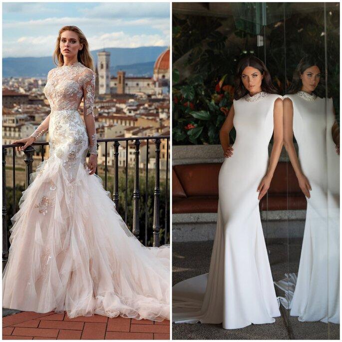 Vestido de noiva sereia gola alta Pronovias