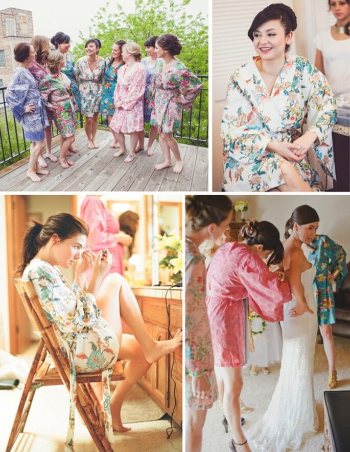 """Viste una bata de novia para el """"getting ready"""" - Foto Angela Renee Photography y Paul von Rieter en Ruffled"""