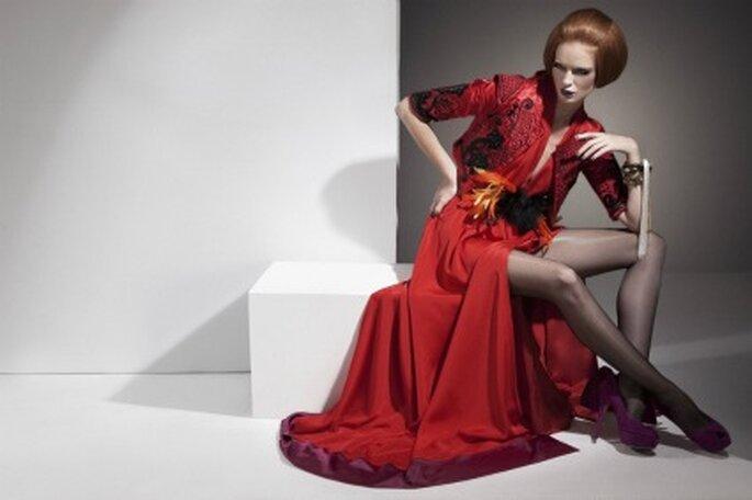 Rojo pasión para uno de los vestidos de la nueva colección de Eugenio Loarce
