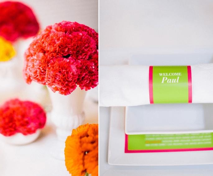Decoración en colores neón para boda - Foto Cathrin D'Entremont