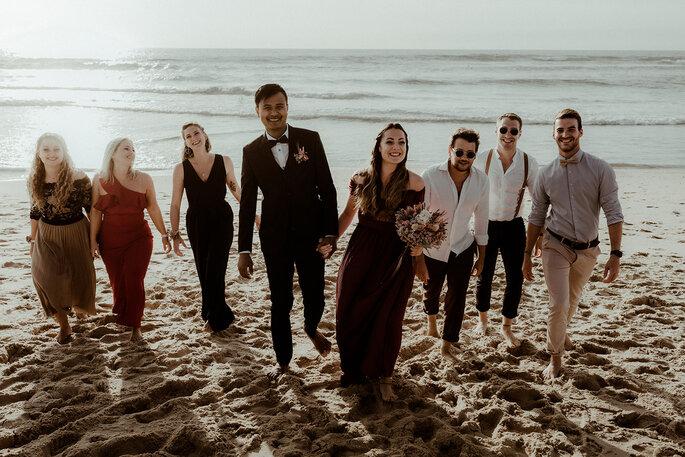 Photo mariage couple et témoins